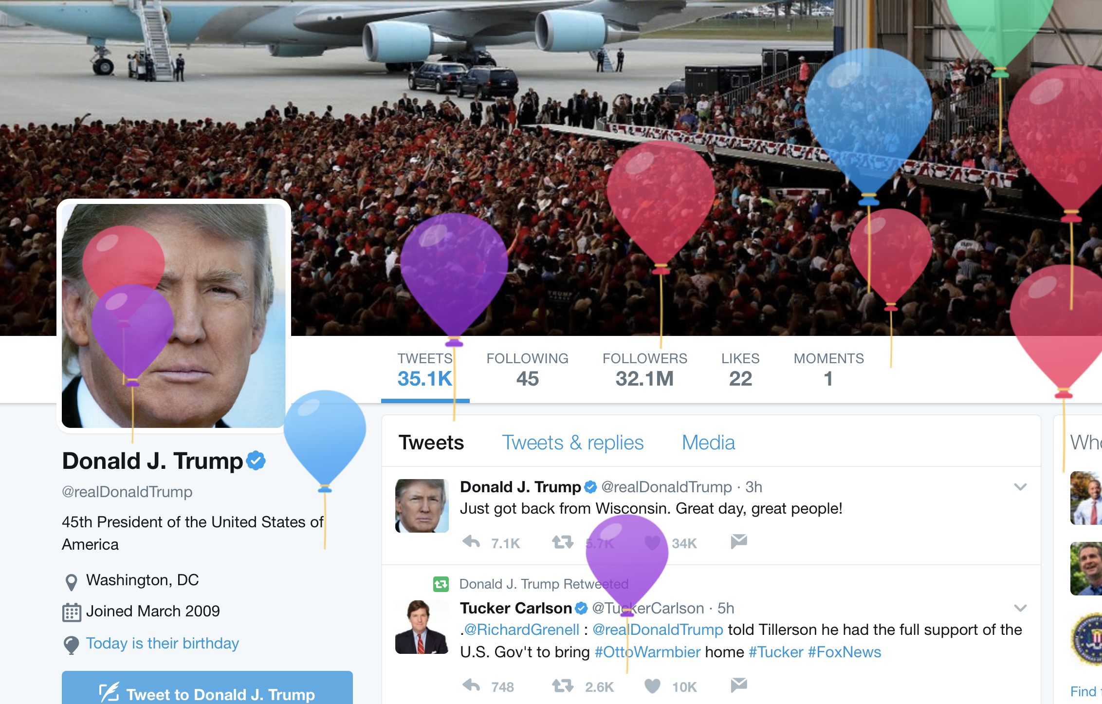 Twitter heckles Donald Trump over the birthday balloons on his